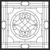 Buntglasplatten für Fenster Abstrakte Blume im quadratischen Rahmen stock abbildung