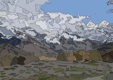 Buntglasvektor-Landschaftsaussichtsplattform in den Bergen von Wolken und von Wald stockbild