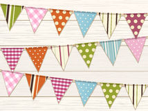 Bunting background one white wood Stock Images