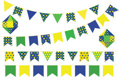 Bunting banners. Decorative bunting flags set isolated on white Royalty Free Stock Image