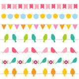 Bunting and birds borders. Collection Royalty Free Stock Photo