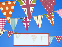Bunting on blue sky and message Royalty Free Stock Image