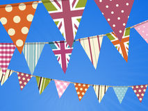 Bunting on blue sky Stock Image