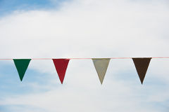 Bunting with cloud. Against colorfull multi Royalty Free Stock Images