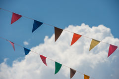 Bunting with cloud. Colorful multi Stock Photo