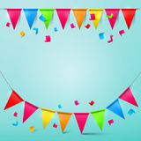 Bunting Confetti and Flags with Ribbons Royalty Free Stock Photography