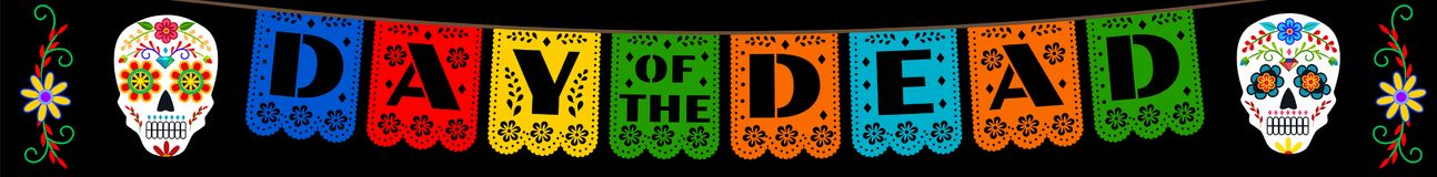Bunting for Day of the Dead. Mexican bunting for Day of the Dead Dia de los Muertos. Horizontal web banner royalty free illustration