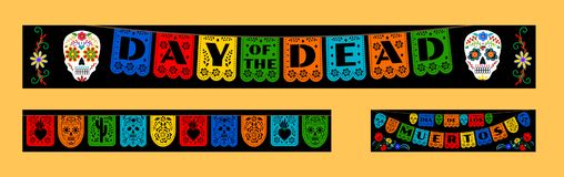 Bunting for Day of the Dead. Mexican bunting for Day of the Dead Dia de los Muertos. Horizontal web banners set stock illustration