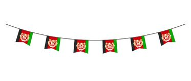 Bunting decoration in colors of Afghanistan flag. Garland, pennants on a rope for party, carnival, festival, celebration. For Nati. Onal Day of Afghanistan on royalty free illustration