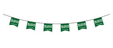 Bunting decoration in colors of Saudi Arabia flag. Garland, pennants on a rope for party, carnival, festival, celebration. For Nat. Ional Day of Saudi Arabia on vector illustration