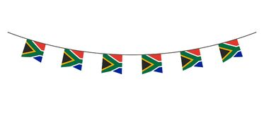 Bunting decoration in colors of South Africa flag. Garland, pennants on a rope for party, carnival, festival, celebration. For Nat. Ional Day of South Africa on vector illustration