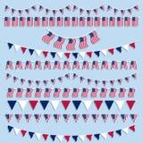 Bunting e bandiere delle bandiere americane Immagini Stock Libere da Diritti