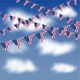 Bunting e bandiere delle bandiere americane Immagine Stock Libera da Diritti