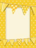 Bunting e blocco per grafici giallo del puntino di Polka Immagini Stock