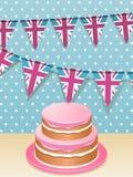 Bunting e torta Immagine Stock Libera da Diritti