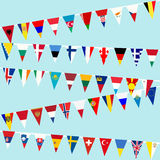 Bunting European countries flags. Bunting European countries  flags over blue sky Royalty Free Stock Photos
