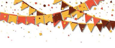 Bunting fair flags. Actual celebration card. Autumn holiday decorations and confetti. Bunting fair flags vector illustration stock illustration