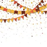 Bunting fair flags. Alive celebration card. Autumn holiday decorations and confetti. Bunting fair flags vector illustration stock illustration