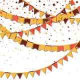 Bunting fair flags. Artistic celebration card. Autumn holiday decorations and confetti. Bunting fair flags vector illustration stock illustration