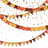 Bunting fair flags. Astonishing celebration card. Autumn holiday decorations and confetti. Bunting fair flags vector illustration stock illustration
