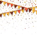 Bunting fair flags. Awesome celebration card. Autumn holiday decorations and confetti. Bunting fair flags vector illustration royalty free illustration