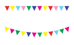 Bunting festive flags. And garland festive flags set. Colorful festive flags vector illustration. Elements festive flags celebrate, party or festival design Royalty Free Stock Images