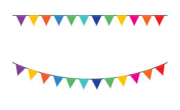 Bunting festive flags. And garland festive flags set. Colorful festive flags vector illustration. Elements festive flags celebrate, party or festival design Stock Image