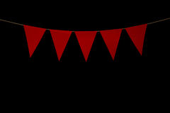 Bunting, five red triangles on string for banner message Stock Images