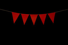 Bunting, five red triangles on string for banner message Royalty Free Stock Photos