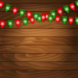 Bunting flag on wooden background Royalty Free Stock Photos