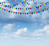 Bunting flaggor på a-himmel Royaltyfria Bilder