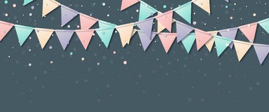 Bunting flags. Awesome celebration card with colorful paper bunting flags and confetti. Party background with bright decorations. Vector illustration Stock Photos