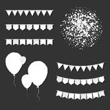 Bunting flags and balloons. Optimal celebration card. White paper holiday decorations and confetti. Bunting flags and balloons vector illustration Stock Photo