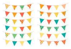 Bunting flags in bright colors vector illustration