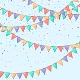 Bunting flags. Marvelous celebration card. Colorful holiday decorations and confetti. Bunting flags vector illustration Stock Image