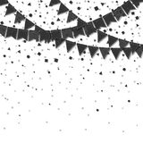 Bunting flags. Captivating celebration card. Balck on white holiday decorations and confetti. Bunting flags vector illustration Royalty Free Stock Photo