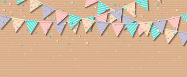 Bunting flags. Charming celebration card with colorful paper bunting flags and confetti. Party background with bright decorations. Vector illustration Royalty Free Stock Images