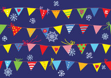 Bunting flags christmas pattern seamless Stock Photography