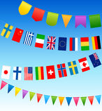Bunting flags and country flags on a blue sky. Vector illustration Stock Image