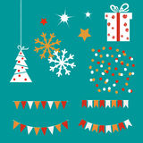Bunting flags and garlands, present box and confetti. Holiday set. Royalty Free Stock Photography