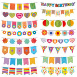 Bunting flags kid party vector decoration Royalty Free Stock Photo