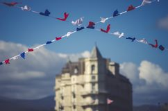 Bunting flags in LLandudno pier Wales, Cymru.  Royalty Free Stock Image