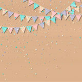 Bunting flags. Lovely celebration card with colorful paper bunting flags and confetti. Party background with bright decorations. Vector illustration Stock Photos