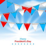 Bunting Flags in Patriotic Colors of USA for Happy Presidents Da. Illustration Bunting Flags in Patriotic Colors of USA for Happy Presidents Day - Vector Vector Illustration