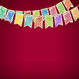 Bunting Flags on Red Background. Festive Background, Holiday Colorful Colored Bunting Flags on Red Background ,  Drawing Crayons or Markers, Vector Illustration Stock Photos