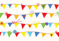Bunting flags seamless pattern Stock Photos