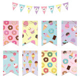 Bunting flags set for birthday party design. Patterns with sweets are added in swatches Royalty Free Stock Photography