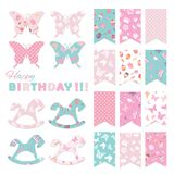 Bunting flags set for birthday party design. Vector Stock Images