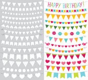 Bunting flags set colorful decoration and blank templates Stock Photography