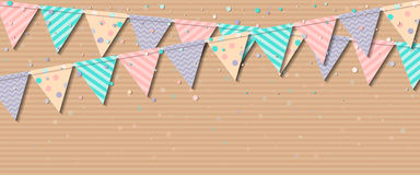 Bunting garland. Attractive celebration card with colorful paper bunting garland and confetti. Party background with bright decorations. Vector illustration Royalty Free Stock Image